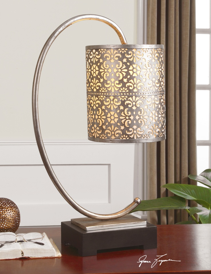 faleria curved metal finished in a lightly antiqued silver leaf with a matte black foot uttermost - Uttermost Lighting