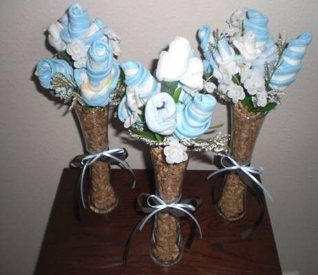 Bootie Washcloth Bouquets Blue and Brown by bearbottomdiapercakes, $10.99