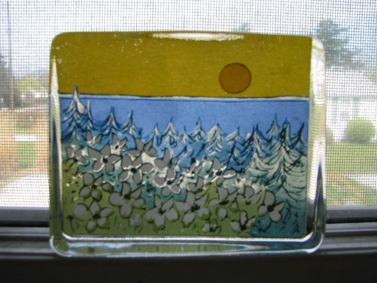 VINTAGE IITTALA FINLAND ART GLASS HAND PAINTED CARD PAPERWEIGHT HELJA SUNSTROM