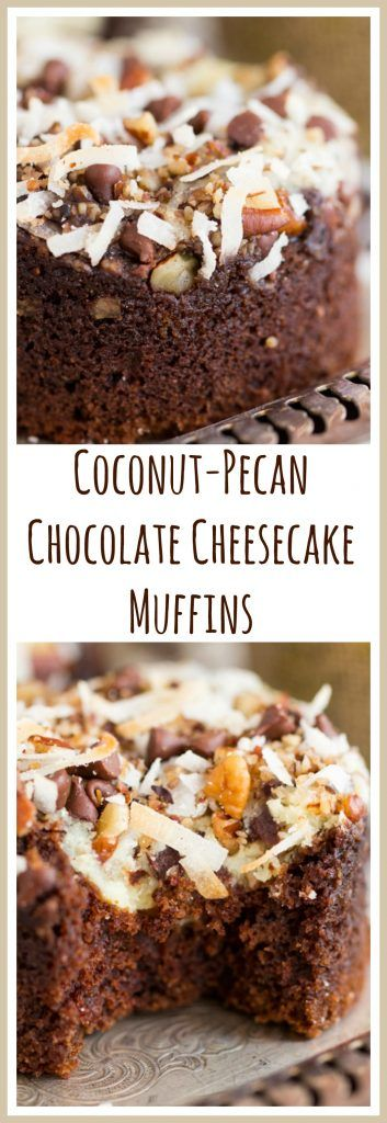 Moist, rich double chocolate muffins with cream cheese filling, and coconut-pecan streusel! These Coconut-Pecan Chocolate Cheesecake Muffins are what breakfast dreams are made of!