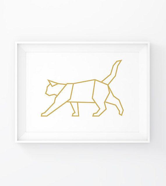 Gold Cat, Geometric Cat, Cat Art, Cat Printable, Cat Print, Cat Decor, Gold Animals, Gold Geometric, Cat Poster, Origami Cat, Cat Decal, Printable Wall Art