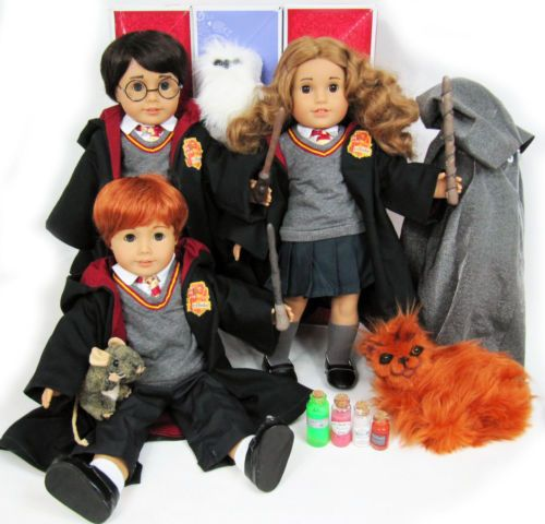 NIB-OOAK-Custom-HARRY-POTTER-American-Girl-Doll-Lot-Hermione-Ron-Animals-Potions