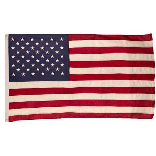 Best 5' by 8' Cotton U.S. Flag by Valley Forge. $69.99. Flag is 100% made in the U.S.A.. Qualty Cotton U.S. Flag. Sewn Stripes and Embroidered Stars. 5' by 8'. This 5'x8' cotton U.S. flag comes with brass grommets. This flag has sewn stripes and embroidered stars. Flag is 100% made in the U.S.A.
