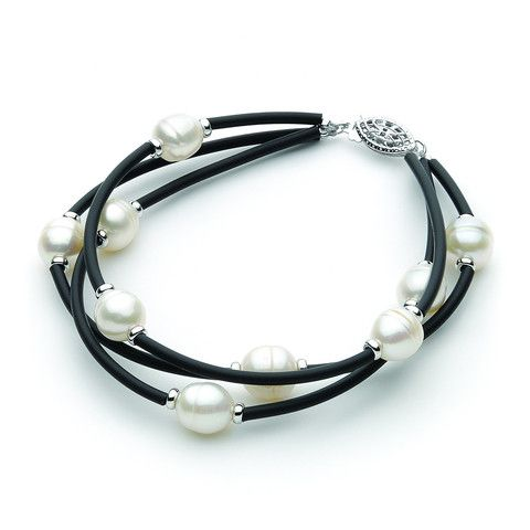 Lovely 3 row neoprene Bracelet with White 8-8.5mm circle Freshwater Pearls and Sterling Silver fish clasp