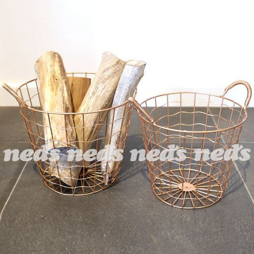 Copper Coloured Wire Baskets with Handles