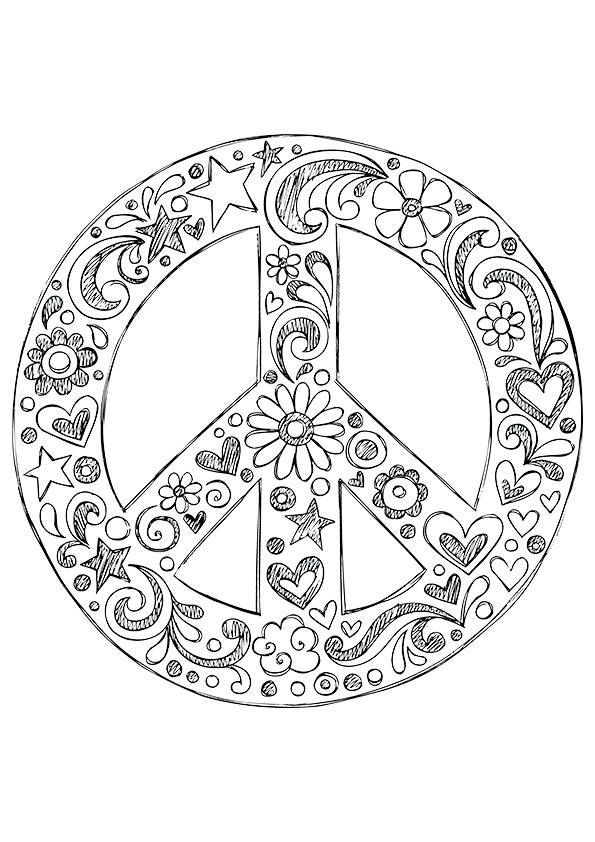American Hippie Coloring Page Zentangle Art Peace Sign