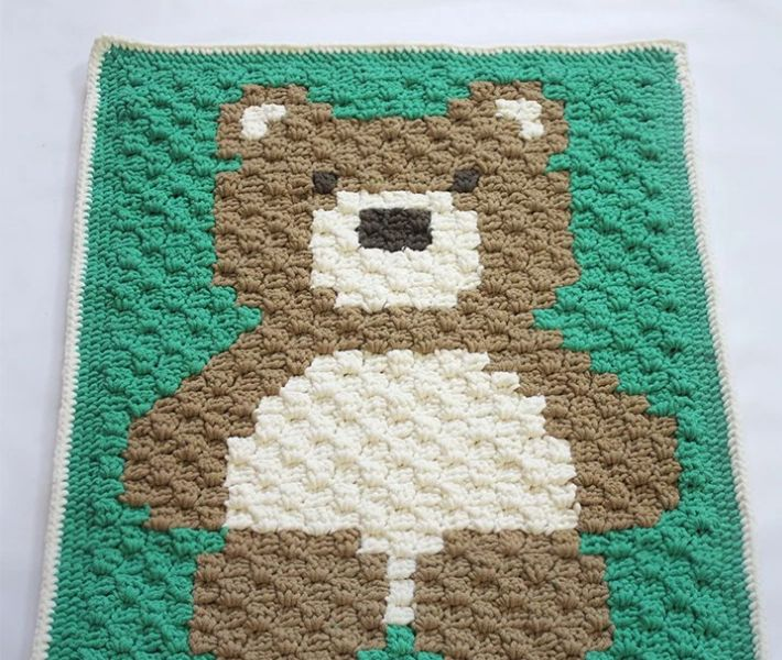 Cuddly Teddy Bear Crochet Baby Blanket Pattern | AllFreeCrochet.com
