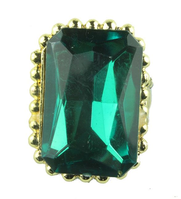 Emerald green jewelled elasticated ring in gold tone (available in other colours) from WWW.GlitzyGlamour.co.uk