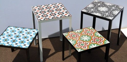 Tiles to update a side table for drinks or plants, inside or out! via JULES BLOGS HERE: A taste of Peranakan decor
