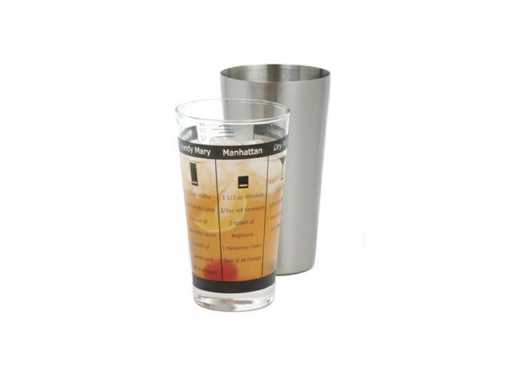 This 32-ounce shaker consists of 2 containers, a shaker and an outer sleeve made of heavy gauge stainless steel. The sleeve fits over the shaker, which has recipes staggered down the side. Turn the outside sleeve and line up the arrow to drink what you want. Includes 15 recipes, an additional bar guide and shot glass.