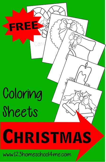 FREE Christmas Coloring Sheets for toddlers, preschool, and kindergarten - great kids activity for December #freeprintable