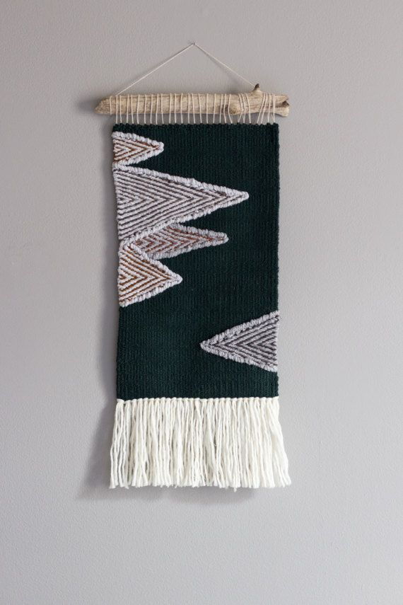 Woven wall hanging // Modern Tapestry // Dark green tapestry
