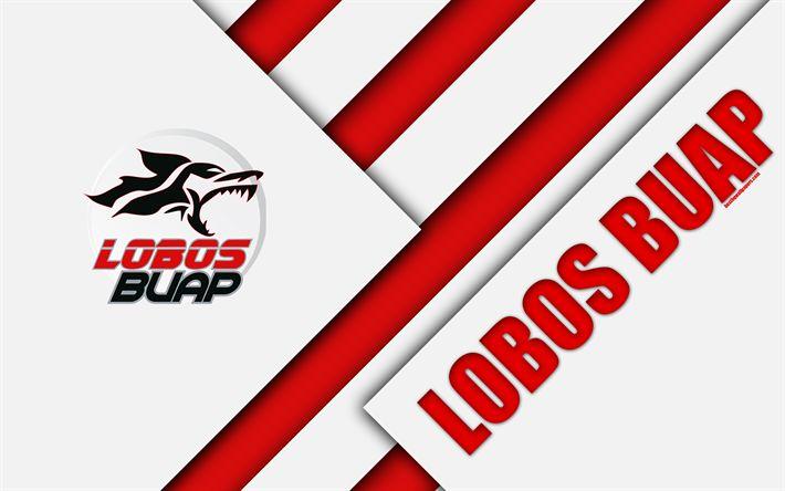 تحميل خلفيات لوبوس BUAP, 4k, المكسيكي لكرة القدم, تصميم المواد, شعار, الأبيض الأحمر التجريد, بويبلا دي سرقسطة, المكسيك, Primera Division, والدوري