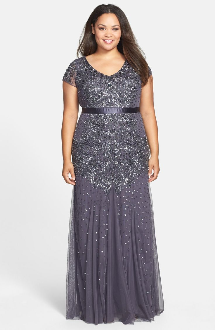 Adrianna Papell Beaded V-Neck Gown (Plus Size) | My style ...