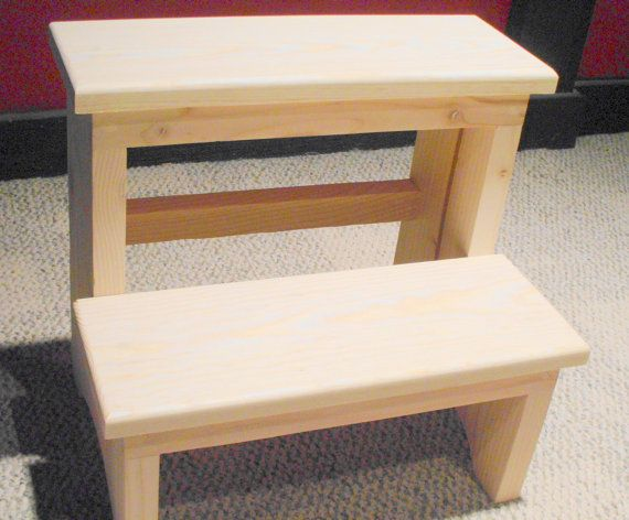 14 Inch Tall Handcrafted Pine Step Stool Unfinished