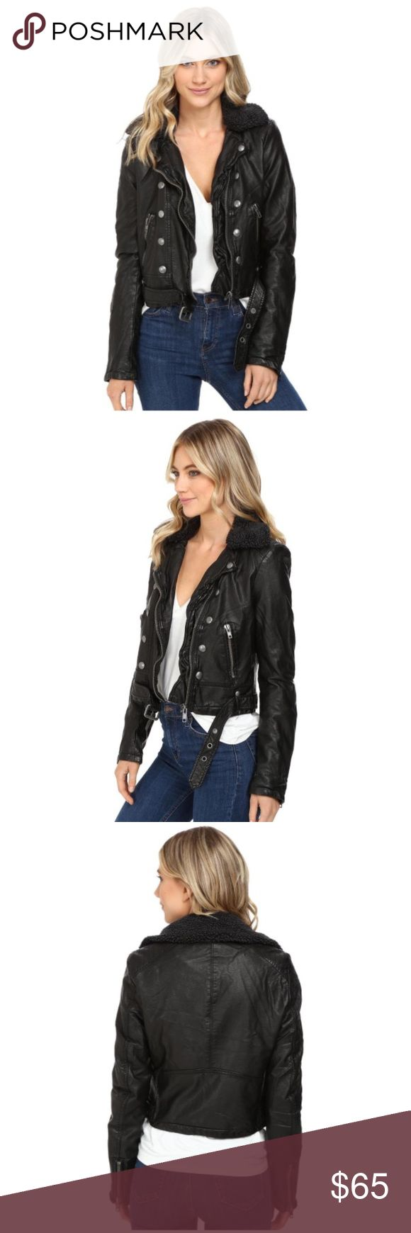 NWT leather free people jacket size small leather free people jacket with black whool collar. never been worn and still has tags (I have the same one in a medium that I wear all the time and love it). make an offer or ask questions below!! Free People Jackets & Coats