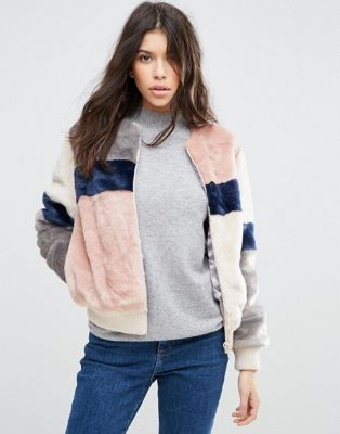 ASOS Bomber Jacket in Patched Faux Fur