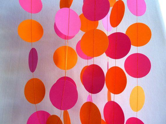 Hot Pink and Orange Paper Garland FABULOUSLY by FabulouslyHomemade