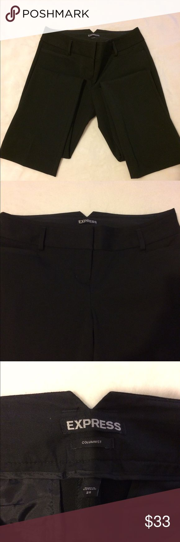 Classic Black Express Columnist Style pants Beautiful pants. 61% Polyester 34% Rayon 5% Spandex. Great condition. Only wore a few times while doing my pre-service teaching during my super skinny college days which was less than a year ago. Pants are a size 2 regular. Refer to last photo for a clearer description on pant length, etc. I love, love the look of these pants and recently bought a larger size. For some reason, Express pants never fail to give you a great feel & look! Express Pants…