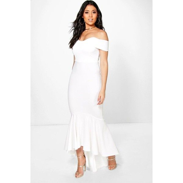 Boohoo Boutique Boutique Margot Open Shoulder Fishtail Maxi Dress featuring polyvore, women's fashion, clothing, dresses, white, mini party dresses, going out dresses, cold shoulder maxi dress, white going out dresses and holiday party dresses