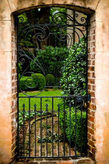 Through a garden gate in Charleston...  Lisa lets go together!!