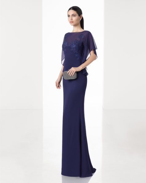 Lightweight crepe Georgette dress with beaded waist and off-the-shoulder sleeves, in silver, cobalt, green, red and navy blue.