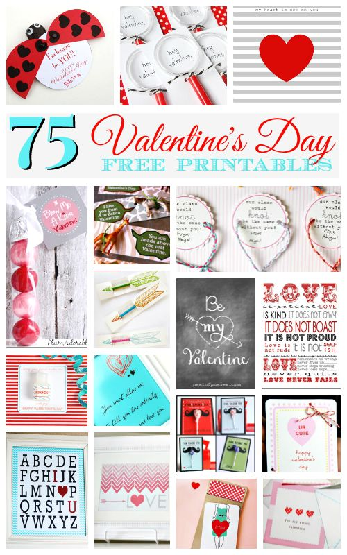 75 amazing Valentine's Day FREE printables - DIY crafts, cards, decor and more!