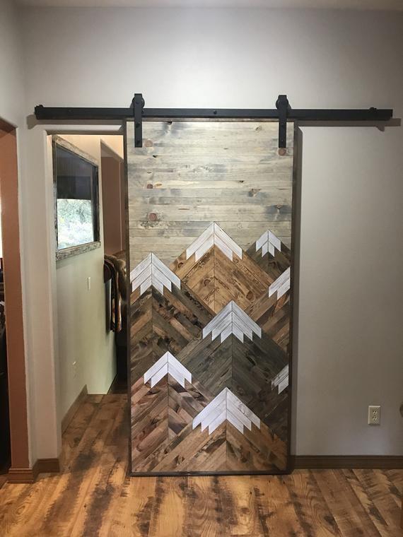 Rustic Wood Mountains Sliding Barn Door Barn Door Designs Door