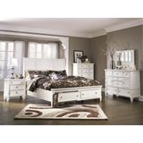 Ashley Prentice King/Queen Sleigh HDBD BDRM Set with Storage - The Prentice bedroom collection features a light airy finish along with a relaxed contemporary design to create an exciting furniture collection that is sure to awaken the decor of any bedroom. The clean white finish flawlessly covers the inset drawer fronts and detailing along with the beautifully sculpted block feet making this contemporary collection an exceptional addition to any home. With the satin nickel color hardware ...