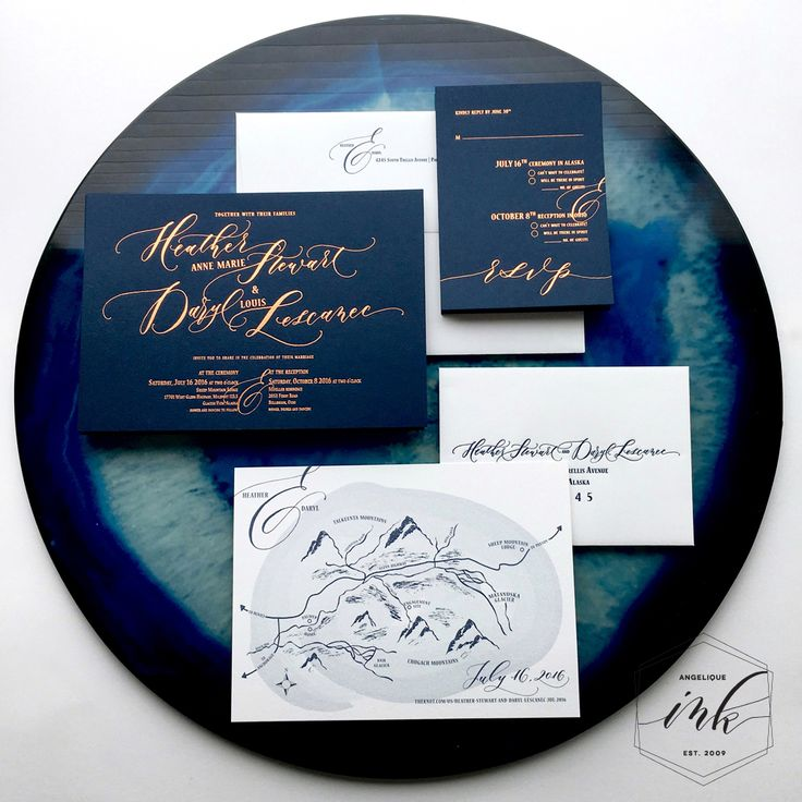 Gorgeous custom wedding invitation with handwritten calligraphy