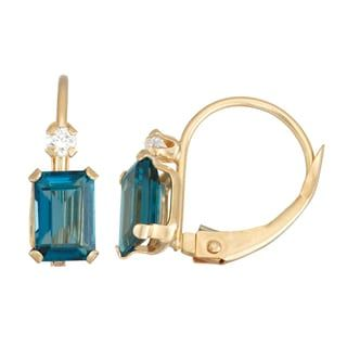 Shop for Gioelli 10k Yellow Gold London Blue Topaz Leverback Earrings. Get free delivery at Overstock.com - Your Online Jewelry Destination! Get 5% in rewards with Club O! - 20984948