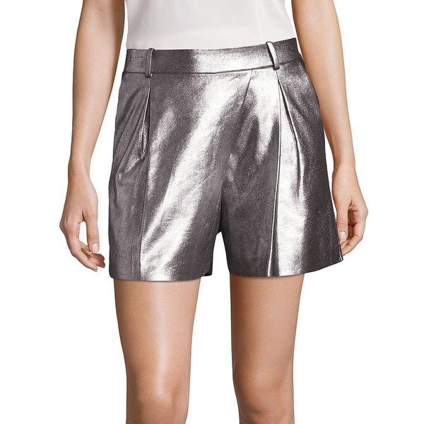 Halston Heritage Women's Metallic Lamb Suede Shorts (£580) ❤ liked on Polyvore featuring shorts, apparel & accessories, tailored shorts, metallic shorts, halston heritage, suede shorts and shiny shorts
