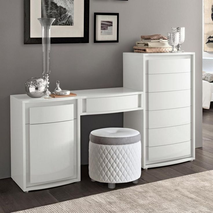 Small White High Gloss Dressing Table