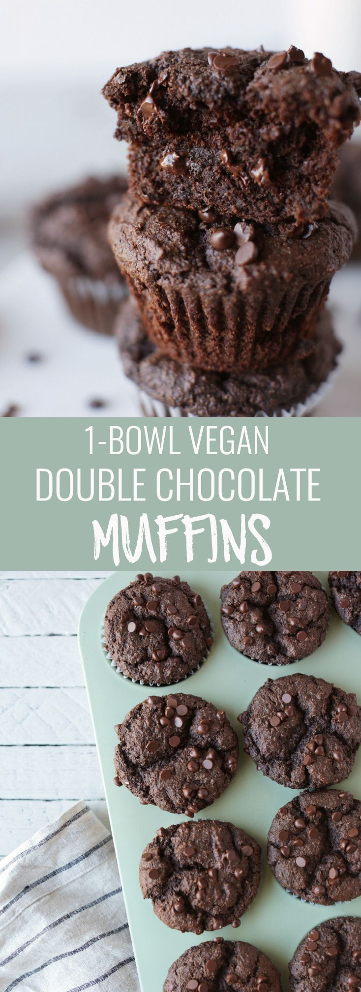1-bowl vegan double chocolate muffins. Naturally sweetened, perfectly moist, chocolatey and they come together in 30-minutes! Nutritionalfoodie.com