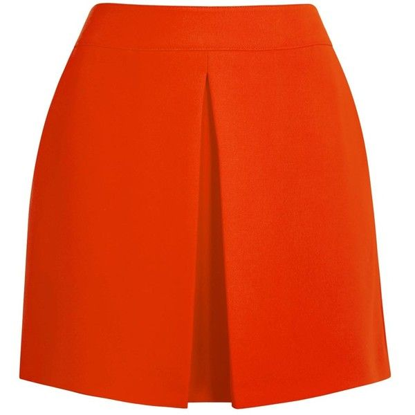 Womens Mini Skirts McQ Alexander McQueen Tomato Red Crepe Mini Skirt ($390) ❤ liked on Polyvore featuring skirts, mini skirts, faldas, shorts, red miniskirt, crepe skirt, mini skirt, orange mini skirt and short skirts