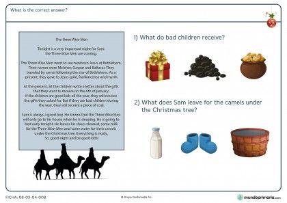 Ficha de comprensión de un texto de Navidad en inglés para primaria