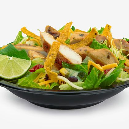 McDonald's: Southwest Salad w/ Grilled Chicken. 390 calories (or less) (my favorite thing to eat there)