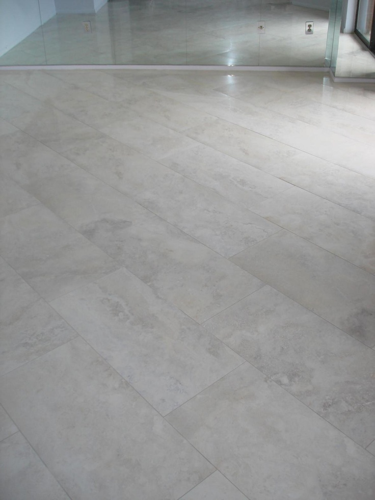 Limestone Tile Floor Planks Laid On The Diagonal For Main Kitchen