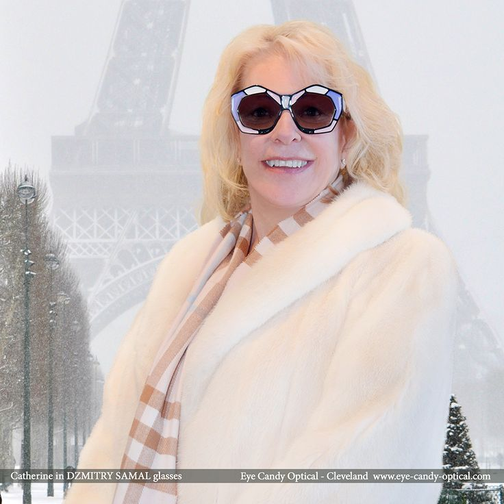 Catherine enjoys the beauty of winter Paris wearing her new French designer sunglasses by Dzmitry Samal.  Eye Candy - an avant-garde take on the finest European Eyewear Fashion! Eye Candy Optical Cleveland - The Best Glasses Store! (440) 250-9191 - Book an Eye Exam Online or Over the Phone www.eye-candy-optical.com