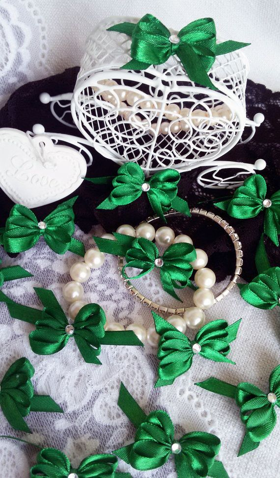 Green satin bows handmade satin bows craft by Rocreanique