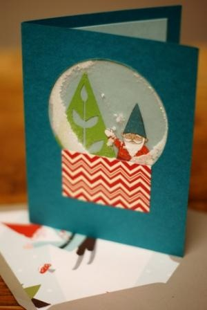 Create your own snowglobe - with cellophane, stamps, and lots of glitter! Card made by the Pasadena, CA store.