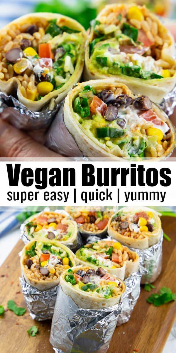 This vegan burrito is stuffed with brown rice, black beans, corn, vegan sour cre…