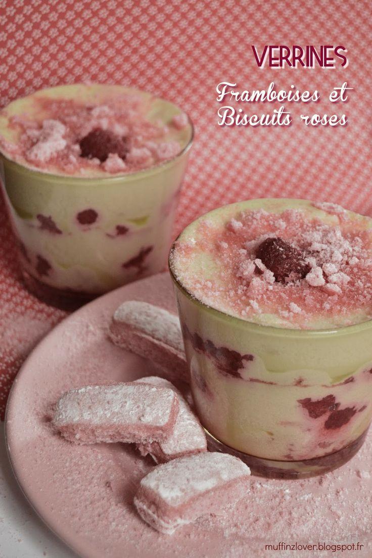 Recette verrines framboises  biscuits roses de Reims - muffinzlover.blogspot.fr. Plus de recettes de verrines sur : www.enviedebienmanger.fr/recettes/verrines
