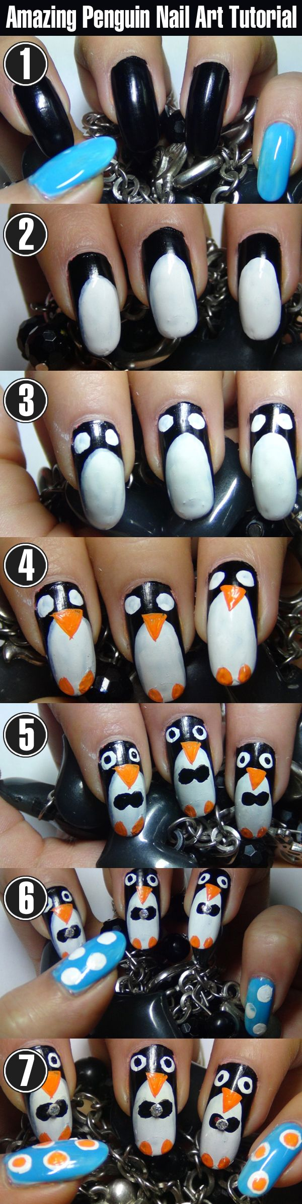 Amazing Penguin Nail Art Tutorial With Detailed Steps & Pictures