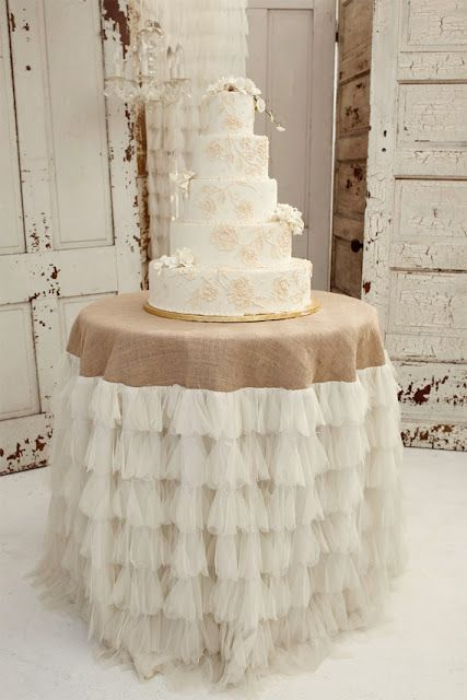 Cake table cloth.. maybe will use gray fabric for the center instead of burlap - If I can't find wine barrels I love how this looks, just make it all lace instead of ruffles