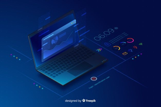 Gradient isometric laptop technology background Vector | Free Download