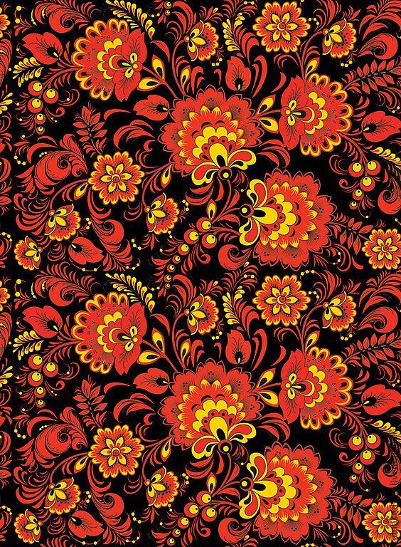 """Купить Ткань """"Хохлома №2"""" - ткань для творчества, ткань для рукоделия, русские узоры, русский стиль"""