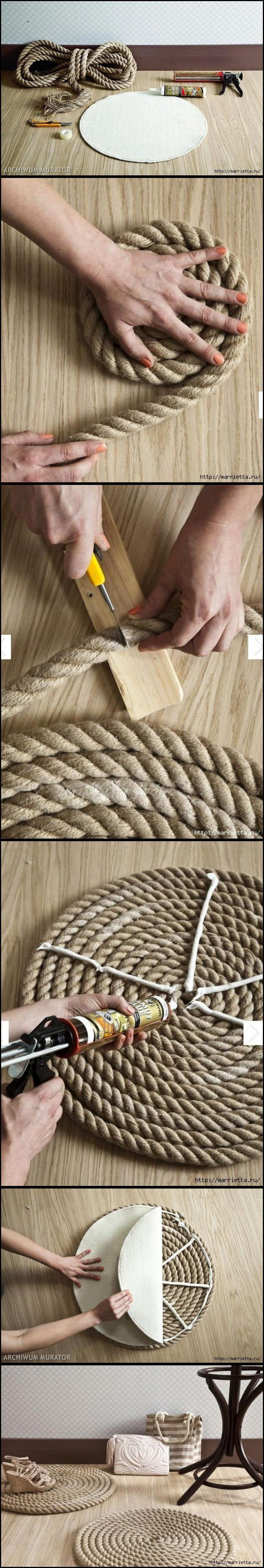 DIY Simple Rope Rug                                                                                                                                                                                 More