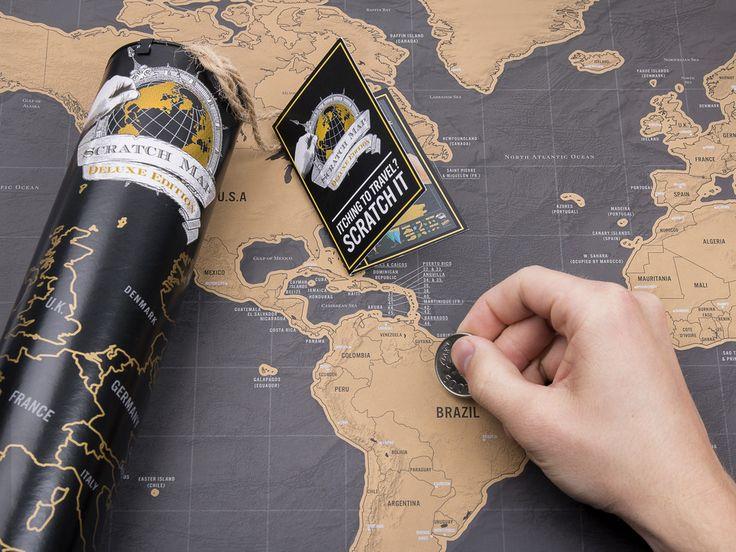 """Scratch Map Original Deluxe - Verdenskort """"skrabt"""" af dig!"""