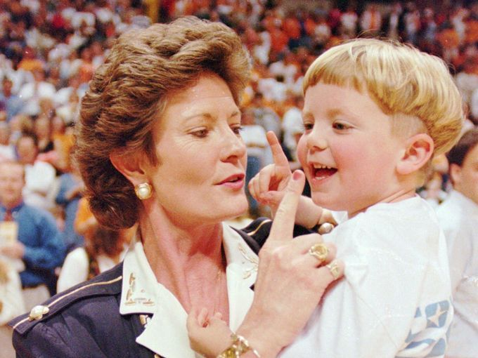 Tennessee head coach Pat Summitt and her son, Tyler,